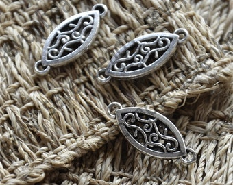 24 pcs flower pendant connector Charms,Antique silver Pendant finding, pendant findings, charm metal finding