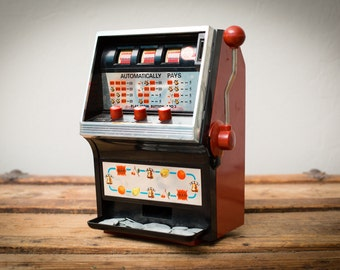 Vintage 70s Waco Toy Slot Machine Game with Slug Coins, Made in Japan