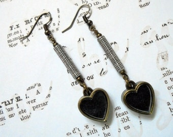 Black, White and Brass Heart Earrings (2790)