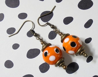 Orange, Black, White and Brass Earrings (3009)