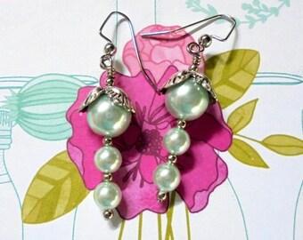 LIght Aqua Blue and Silver Pearl Earrings (2700)