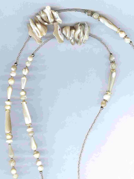 Natural Mother of Pearl Teardrops ID Badge Lanyard or Eyeglass Chain