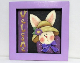 Spring Time Bunny, Welcome Sign with Bunny, Hand or Tole Painted, Framed in Purple, Painted on Fiberglass Black Screen, Bunny with Flower