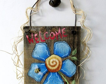 Blue Flower Welcome Sign, Hand Painted on Reclaimed Barn Wood, Welcome Sign, Blue Flowers, Reclaimed Barn Wood, Tole Painted, Hanging Sign