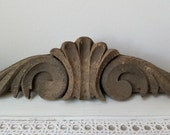 Vintage Carved Wood Pediment Architectural Salvage Ornamental Fragment, Rustic Weathered Distressed