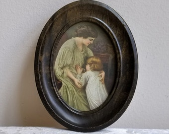 Vintage Mother Holding Praying Child Art Print in Brown Oval Metal Frame, Bedtime Prayers