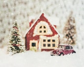 Christmas Photography - Snowy Cottage and Beetle - woodland decor, snow, vintage nursery, cottage wall art, volkswagen, oxblood, gold