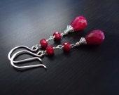 Ruby Earrings, Wire Wrapped, Dangle Earrings, July Birthstone, Gemstone Jewelry, Sterling Silver