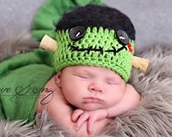 Crochet Frankenstein Hat, Frankenstein hat, Newborn Halloween Prop, Newborn Crochet Hat, Halloween Costume