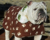 ENGLISH BULLDOG  Reversible Coat,Fleece,Fall, winter dog coat, Ski wear, Brown,Tan, , Reversible Bulldog coat, dog coat