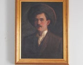 Handsome Sam - Antique Oil Portrait Painting oN canvas in Gold Frame