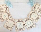 B is for Boy Banner Giraffe Garland Baby Shower Decoration Photo Prop