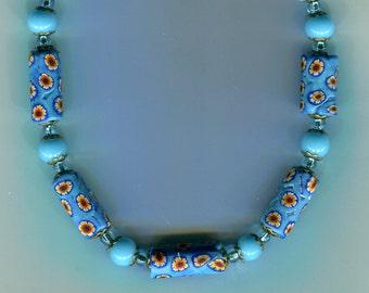 Vintage Venetian Turquoise Millefiori Murano Lampwork Bead Necklace & Earrings, N1451T