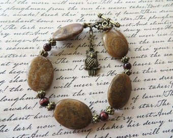 Caramel Jasper Red Tigers Eye And Metal Beaded Bracelet With Owl Charm