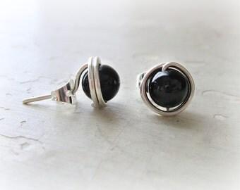 Black Onyx Studs, Sterling Posts, Black Post Earrings, Little Black Earrings, Small Black Earrings,Gemstone Earrings, Black Onyx Posts