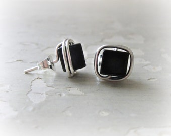 Square Onyx Studs, Cube Post Earrings, Sterling Studs, Wire Wrap Studs, Black Stud Earrings, Black Onyx Posts, Sterling Black Studs