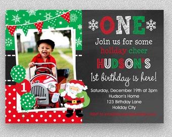 Christmas Birthday Invitation, Christmas 1st Birthday Santa Party Invitation Boys or Girls, Children's 1st Christmas