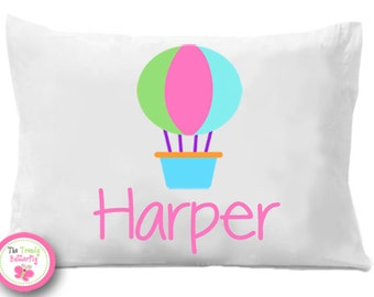 Hot Air Balloon Pillow Case , Personalized Pillowcase, Personalized Childrens Bedding