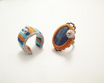Crochet Jewelry (Boho Chic 1-b) Crochet Ring, Statement Ring, Fiber Ring, Gemstone, Rings Set