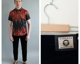 90s Mens VERSACE Black Chord Jeans- 34, Designer Vintage, Corduroy, Crop Pants, Hipster 90s