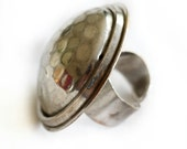 Vintage Hammered Silver Ring, Adjustable Large Chunky Ring, from Paris