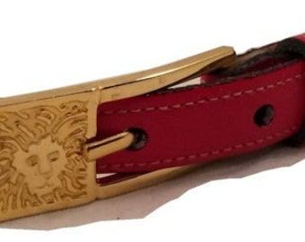 Anne Klein Authentic Vintage Belt Red Leather Golden Lion Figural Buckle 8643 S