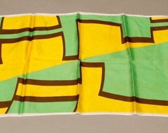 Acetate Twill Scarf Color Block Green Yellow White Brown Retro Long Scarf Headwrap Retro 60s True Vintage Accessories artedellamoda