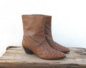 Brown Ostrich Ankle Boots Mens Size 8, Ladies Size 9