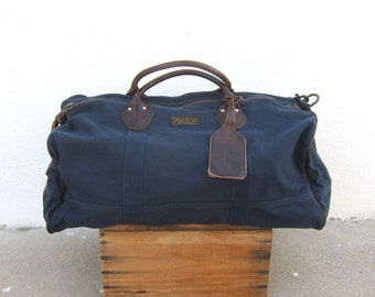 Polo Ralph Lauren Navy Canvas and Brown Leather Explorer Duffle Travel Bag w/Shoulder Strap