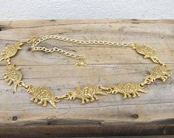 80s Gold Triceratops Link Belt