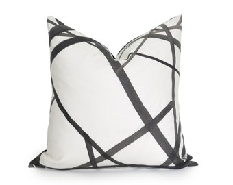 Channels Pillow Cover - Kelly Wearstler Channels - Ebony - Black and Off-White -  Geometric Pillow - Black Pillow - Neutral Pillow