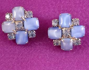 Vintage Blue Rhinestone Clip On Earrings