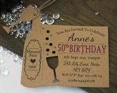 x10 Personalised Birthday Invitations Invite Tags 21st 30th 50th 60th Birthday Wine bottle tag
