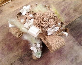 Bridal Bouquet-Rustic Bouquet- Wedding Bouquet, Burlap Bouquet, Pearls, Feathers
