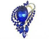 Sapphire Blue Rhinestone Brooch Crystal Wedding Bridal Button Supply Brooch Bouquet Cake Decoration Hair Comb Shoe Clip