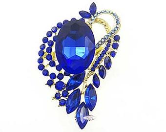 Sapphire Blue Rhinestone Brooch Crystal Wedding Bridal Button Supply Brooch Bouquet Cake Decoration Hair Comb Shoe Clip RD409