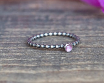 Pink Tourmaline Ring Oxidized Sterling Silver  Single Stacking Ring Dainty Silver Ring Unique Engagement Ring Gift Under 50 stocking stuffer