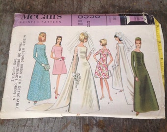 Vintage McCall's Sewing Pattern 8558 Misses' Size 12 Bust 32 Wedding Dress Bridesmaid