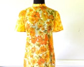 Reserved maria  sheer floral top - 1960s yellow zip-back mod shirt