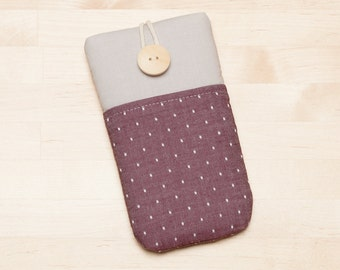 iPhone SE sleeve / iPhone 7 sleeve / Nexus 6p cover  / iphone 6 case / fabric iphone 5 case - Red dots in grey