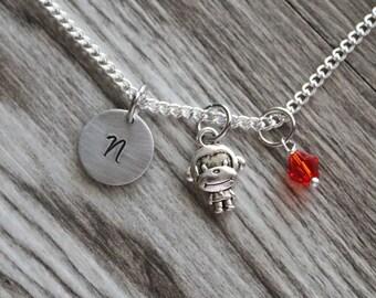 Monkey Necklace, Zoo Animal Necklace Jewelry, Monkey Jewelry, Animal Jewelry, Zoo Gift