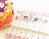 Jewel Decorated Sewing Pins in Lavender Flowers