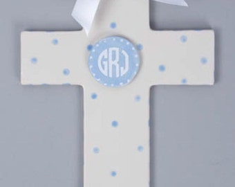 Hand painted cross, monogrammed cross, personalized baptism cross, First communion cross, baby dedication cross, Hand painted ceramic cross