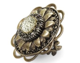 Vintage Golden Sunflower Sun Dial Ring- Adjustable 1310184