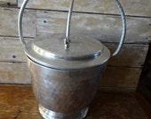 Vintage Ice Bucket Hammered Aluminum  Shabby Chic Rare