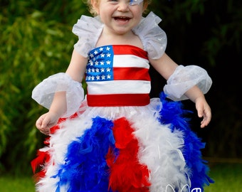 Toddler-Girls Star Spangled Americana Pageant Dress, Red, White and Blue Feather Satin Sparkle, Flag Corset Top, Sizes 18 mo through 10
