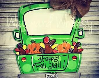 Thanksgiving Truck Fall Pumpkins Door hanger