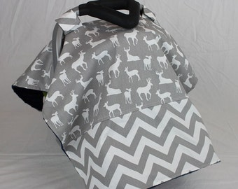 Woodland Deer and Chevron Canopy Cover, choose your own minky color