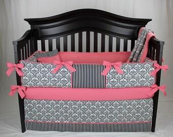 SALE! Coral Isabella,  Black and White Damask Baby Girl Nursery Set