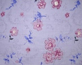 Cotton Fabric, Dark Lavender Floral,  3-1/4 Yards Reserved for Amy